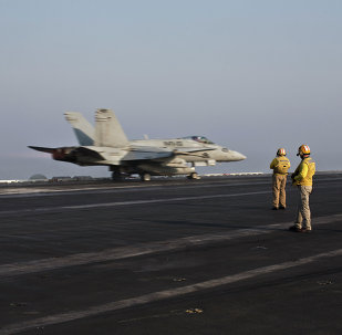 Pilots onboard of the US Marine fighter jet aircrafthave flown missions into both Iraq and Syria, part of the over 6,800 airstrikes carried out since August 2014.