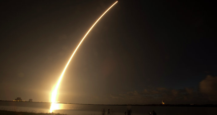 A Mobile User Objective System (MUOS) satellite for the U.S. Navy launches from Cape Canaveral.
