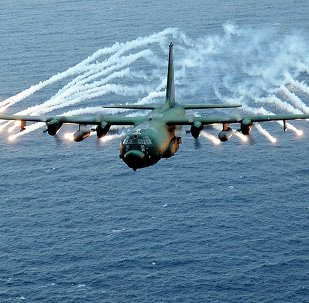 This US Air Force file photo obtained 07 March 2002 shows an Air Force AC-130 gunship on a training exercise
