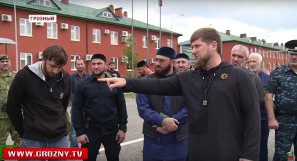 Ramzan Kadyrov speaking at a televised 'shaming' of local youth who had voiced their support for ISIL.