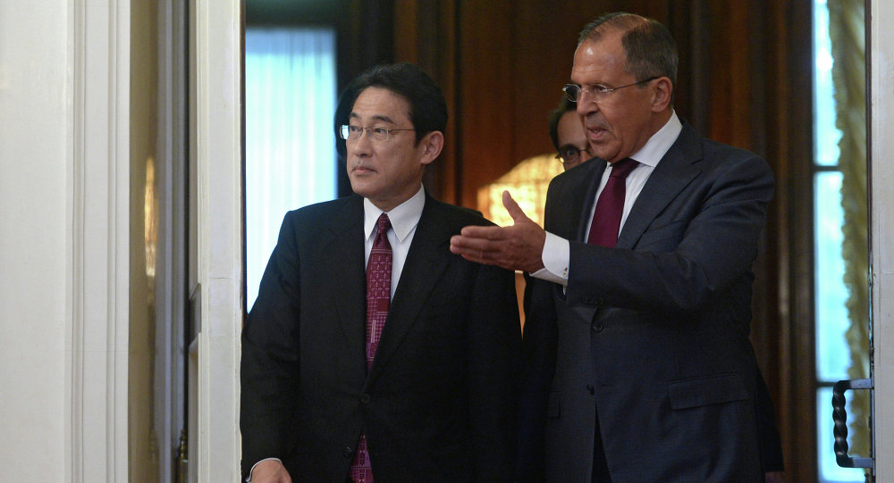 Russian Foreign Minister Sergey Lavrov meets with his Japanese counterpart Fumio Kishida