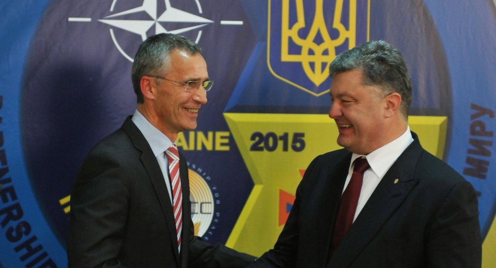 NATO Secretary General Jens Stoltenberg (at the left) and the president of Ukraine Petro Poroshenko at a press conference in the International center of peacemaking and safety on the Yavorivsky ground