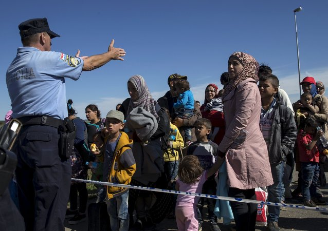 Migrants queue at the border crossing between Serbia and Croatia near Tovarnik, Croatia, September 21, 2015