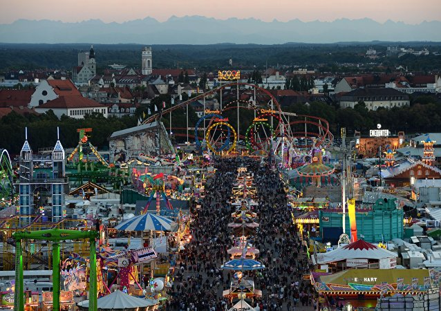A picture taken on September 21, 2015 shows the Theresienwiese grounds of the Oktoberfest beer festival in Munich