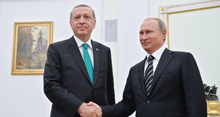 September 23, 2015. Russian President Vladimir Putin, right, and Turkish President Recep Erdogan during a meeting in the Kremlin.