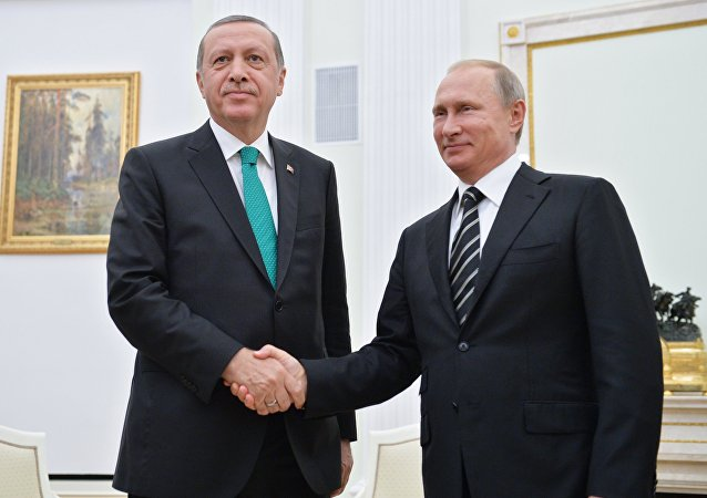 September 23, 2015. Russian President Vladimir Putin, right, and Turkish President Recep Erdogan during a meeting in the Kremlin.
