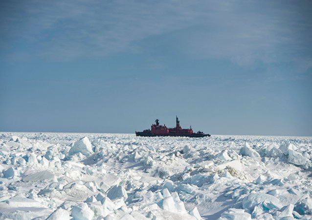 The atomic icebreaker Yamal during research carried out in the Kara Sea