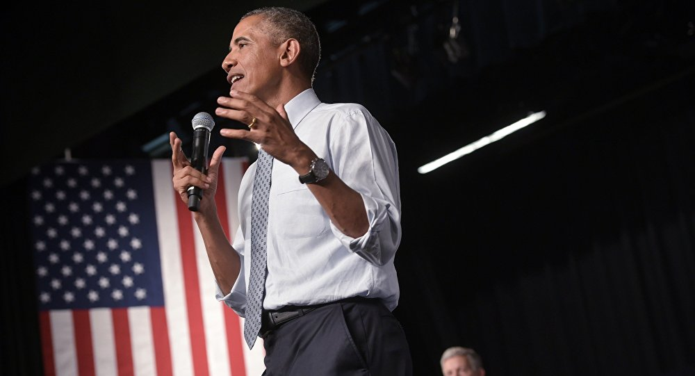 US President Barack Obama speaks during a town hall meeting.