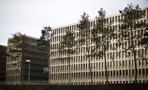 In this picture taken Thursday, April 30, 2015, the new headquarters of Germany's Federal Intelligence Agency, known by its acronym BND.