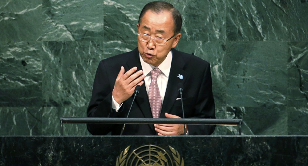 Ban Ki-moon, UN Secretary-General addresses a plenary meeting of the United Nations Sustainable Development Summit 2015 at United Nations headquarters in Manhattan, New York, September 25, 2015.