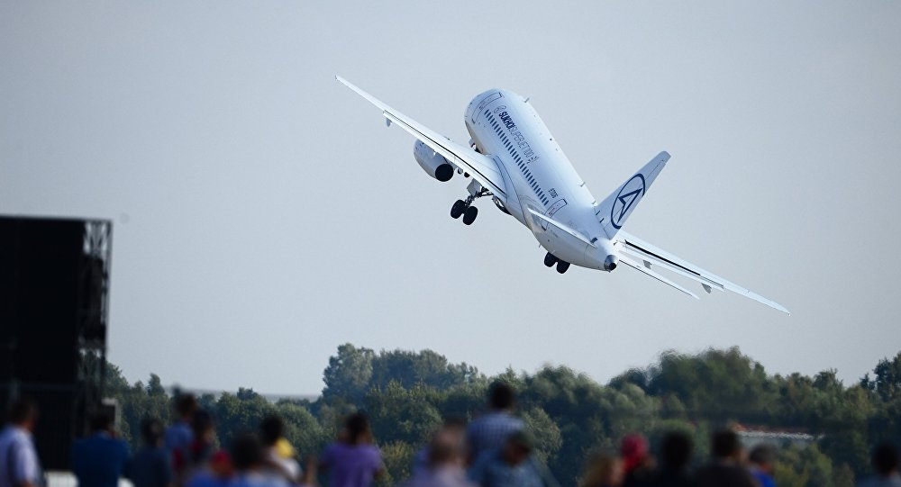 A Sukhoi Superjet-100 airliner performs demonstration flight during the International Aerospace Salon (MAKS 2015) in Zhukovsky near Moscow.