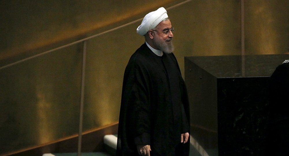 Iran's President Hassan Rouhani arrives to address a plenary meeting of the United Nations Sustainable Development Summit at the United Nations headquarters in Manhattan, New York September 26, 2015.