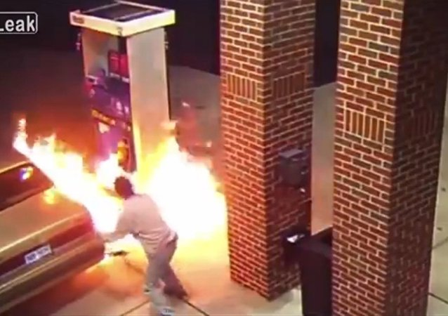 Crazy Man Set Fire To Gas Station To Kill Spider