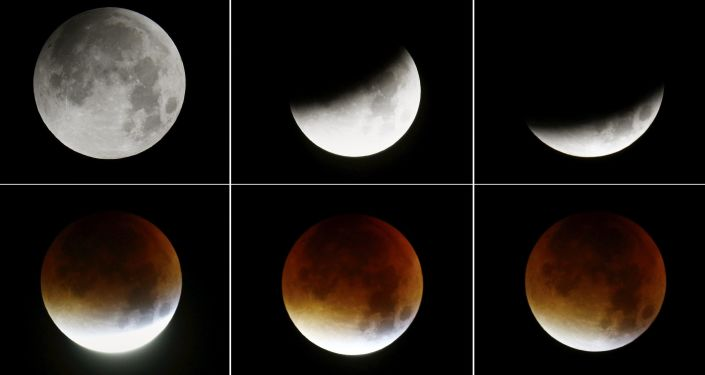 A combination of six pictures shows phases of the rising supermoon in the sky in Frankfurt, Germany, early morning September 28, 2015