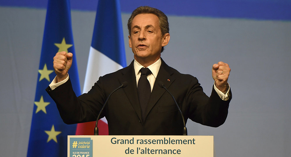 Head of French right-wing party Les Republicains and former President Nicolas Sarkozy delivers a speech during a campaign meeting of the Les Republicains' candidate for the December regional elections in Ile-de-France on September 27, 2015