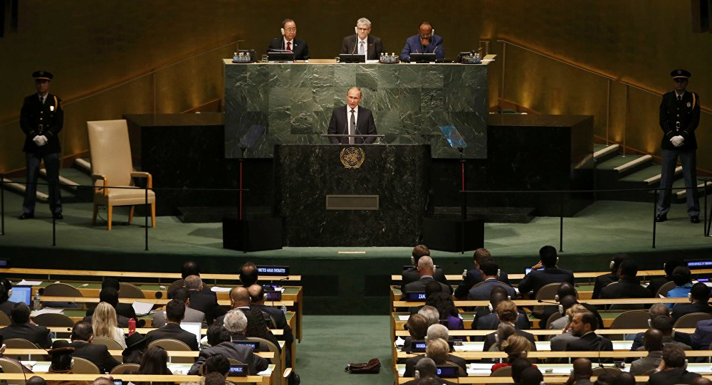 Russian President Vladimir Putin addresses attendees during the 70th session of the United Nations General Assembly at the UN Headquarters in New York, September 28, 2015