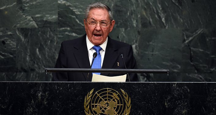 Cuban President Raul Castro addresses the 70th Session of the UN General Assembly September 28, 2015 in New York.