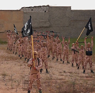 Young boys known as the lion cubs hold rifles and Islamic State group flags as they exercise at a training camp in Tal Afar, near Mosul, northern Iraq (File)
