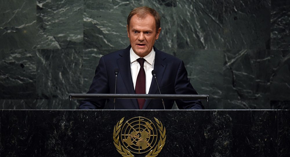 Donald Tusk, President of the European Council addresses the 70th Session of the UN General Assembly September 29, 2015 in New York