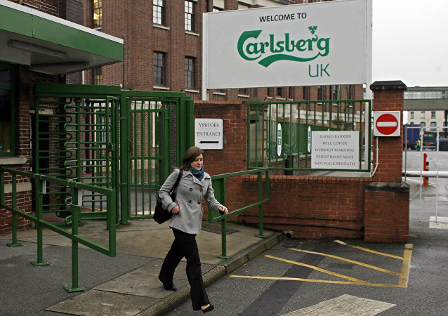 A Carlsberg brewery is pictured in Leeds in west Yorkshire in northeast England, on November 5, 2008