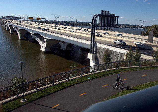 A cyclist nears the bridge