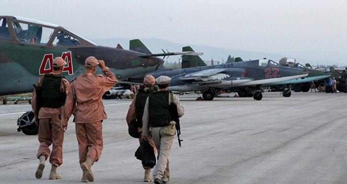 Russian Sukhoi jets at airfield near Latakia