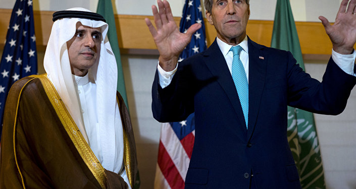 Secretary of State John Kerry, right, meets with Saudi Arabia's Foreign Minister Adel Al-Jubeir in New York, Saturday, Sept. 26, 2015.