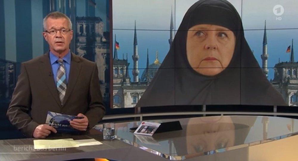 Merkel wearing a veil