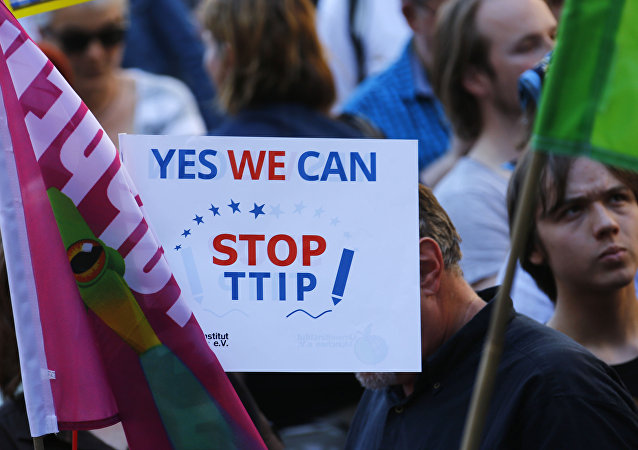 Demonstrators hold a sign against the TTIP contract during a protest against the upcoming G-7 in Munich, southern Germany, Thursday, June 4, 2015