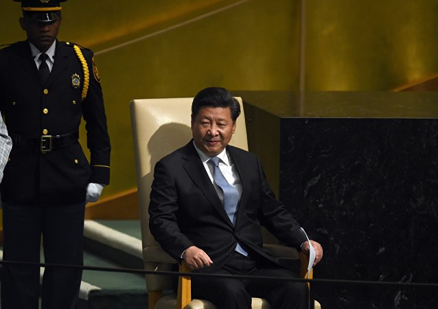 Xi Jinping, President of China waits to address the 70th Session of the UN General Assembly September 28, 2015 in New York