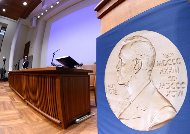 The laureate medal featuring the portrait of Alfred Nobel