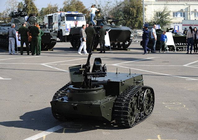A multipurpose combat robot Platform M at the exhibition Innovations Day of the Southern Military District in Rostov-on-Don.
