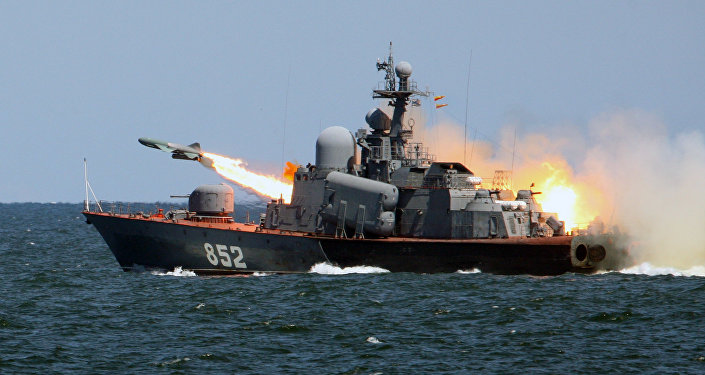 A Termit anti-ship cruise missile launched from the missile boat R-123