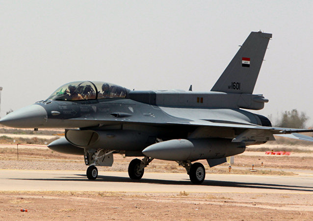 One of the two recently delivered F-16 fighter jets from the US is seen on the tarmac at Iraq's Balad air base in the Salaheddin province, north of the capital Baghdad, on July 20, 2015