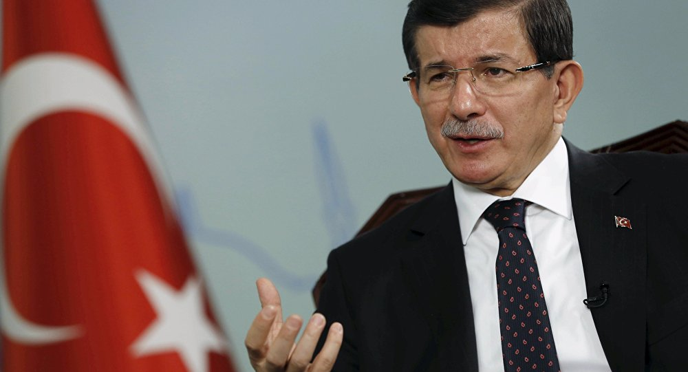 Turkish Prime Minister Ahmet Davutoglu talks during an interview with Reuters in Istanbul, Turkey, October 14, 2015