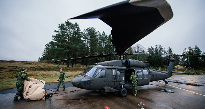 Soldiers from the Swedish Armed Forces prepare an Blackhawk helicopter at Hagshult Airbase, part of the Forward Operation Base of the NBG (Nordic Battlegroup), about 240km North-East of Malmo, Sweden on November 6, 2014