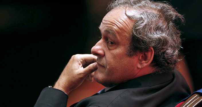 UEFA president Michel Platini attends the draw for the UEFA Europa League football group stage 2015/16, on August 28, 2015 in Monaco