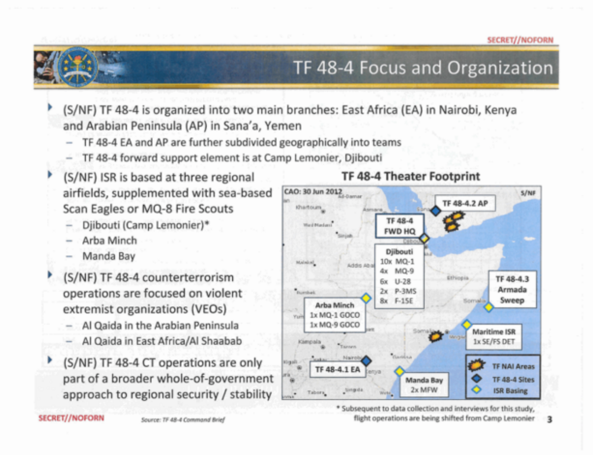 Pentagon memo detailing the operations of TF-48-4.