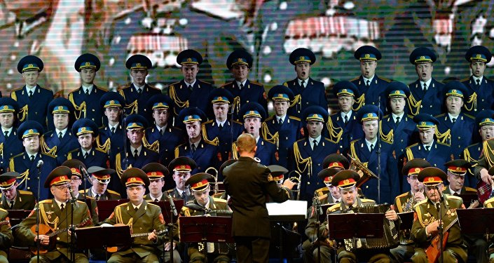 Members of the Alexandrov Russian Army song and dance ensemble