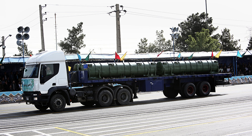 An Iranian military truck carries a Bavar-373 air defence missile system during the Army Day parade in Tehran on April 18, 2015