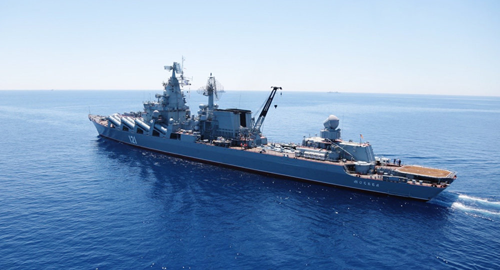 Moskva missile cruiser in the Mediterranean