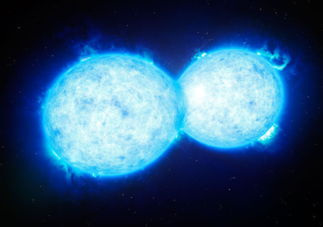 This artist's impression shows VFTS 352 — the hottest and most massive double star system to date where the two components are in contact and sharing material