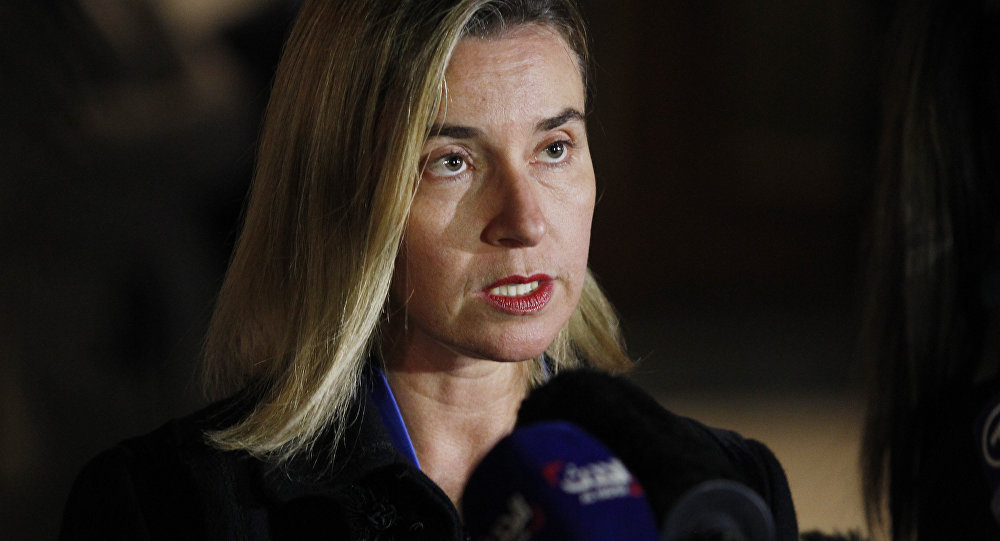 Federica Mogherini, the High Representative for Foreign Affairs and Security Policy of the European Union talks to the press on October 23, 2015 in Vienna