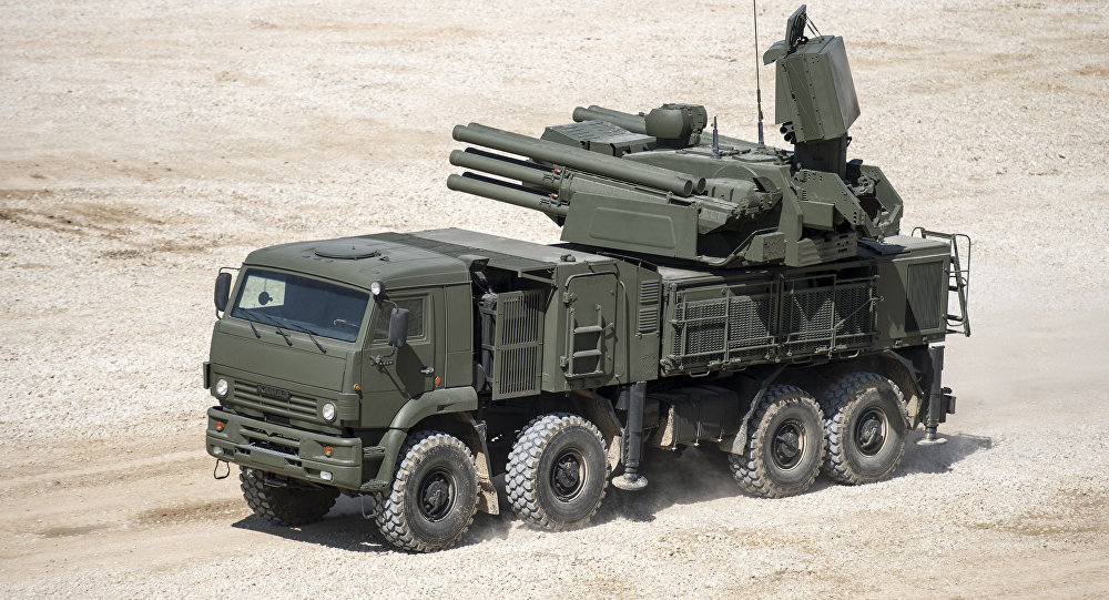 Pantsir-S1 antiaircraft gun / surface-to-air missile system displayed in the run-up to the Army-2015 international military-technical forum in the Moscow Region