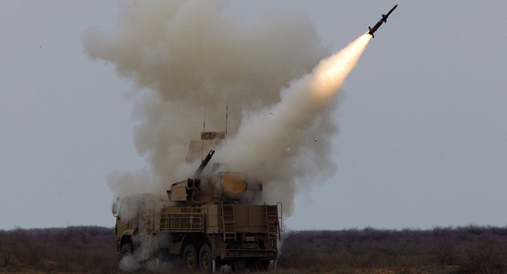 Rocket launch by the Pantsir-S surface-to-air missile system during an exercise (air defense conference) of the Air Defense soldiers. Ashuluk firing ground, Astrakhan region