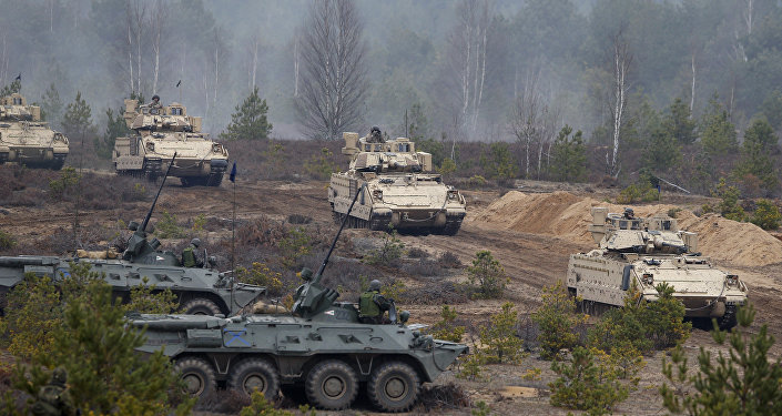 Soldiers from different NATO countries attend a military exercise 'Iron Sword 2014', at the Gaiziunu Training Range in Pabrade some 60km.(38 miles) north of the capital Vilnius, Lithuania, Thursday, Nov. 13, 2014