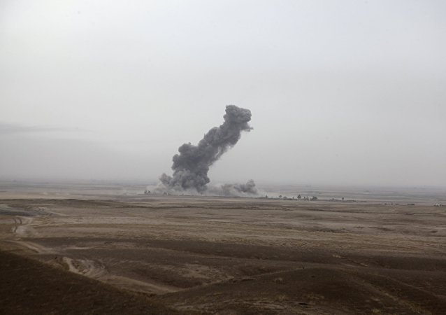Smoke rises after an airstrikes from the US-led coalition against Islamic State.