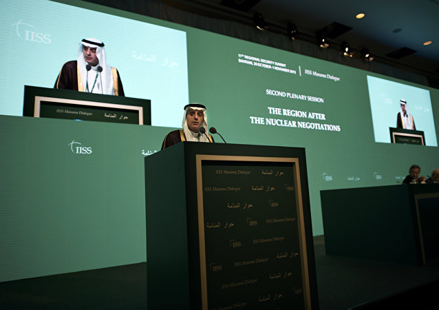Saudi Foreign Minister Adel al-Jubeir delivers a speech during the 11th Manama Dialogue Regional Security Summit organised by the International Institute for Strategic Studies (IISS) in the Bahraini capital, Manama, on October 31, 2015