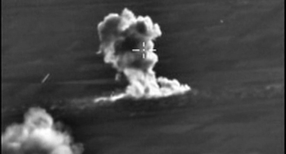 Russian Air Force jets conduct a pinpoint strike with a BETAB-500 bunker-busting bomb on engineering facilities of the Islamic State in Aleppo Governorate