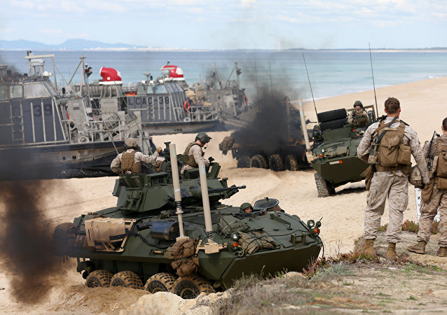 US marine armoured vehicles steers through the soft sand after getting off from a US Navy hovercraft during the NATO Trident Juncture exercise 2015 at Raposa Media beach in Pinheiro da Cruz, south of Lisbon, Tuesday, Oct. 20, 2015.